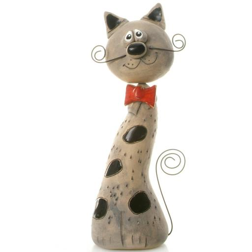 Ceramic Crazy Cat with Wire Whiskers & Tail   Black Patches