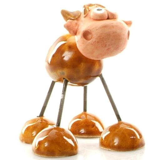 Wire Legs Ceramic Lowland Cow | Brown