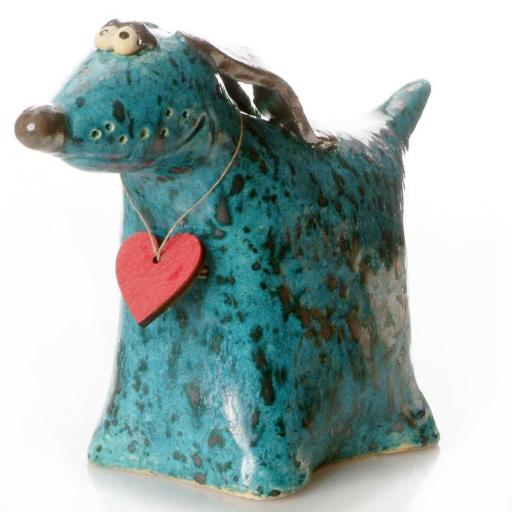 Ceramic Greyhound Ornament with Wooden Messaging Heart Tag | Teal