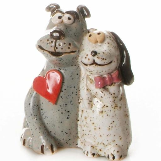 Ceramic Dog Couple Figurine with Red Heart | Love at First Sight