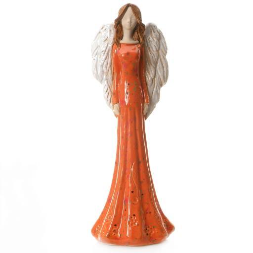 Large Ceramic Angel Figurine in Copper