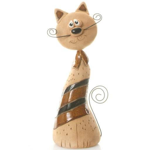 Ceramic Crazy Cat with Wire Whiskers & Tail | Brown & Black Stripes
