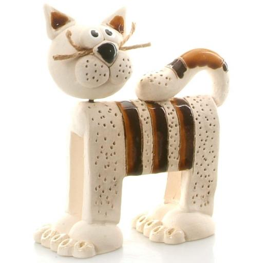 Stripey Whiskers Cat Figurine | Chocolate