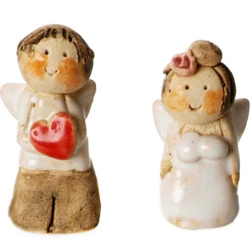 Set of 2 Ceramic Mini Mr & Mrs Angels | With Hanging Hooks | Gift Boxed