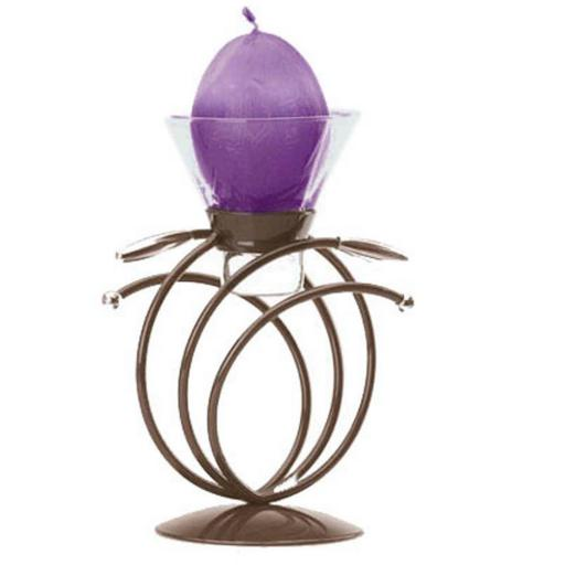Minimalist Metal Candle Holder with 1 Glass Cup | Haloes | Matt Brown