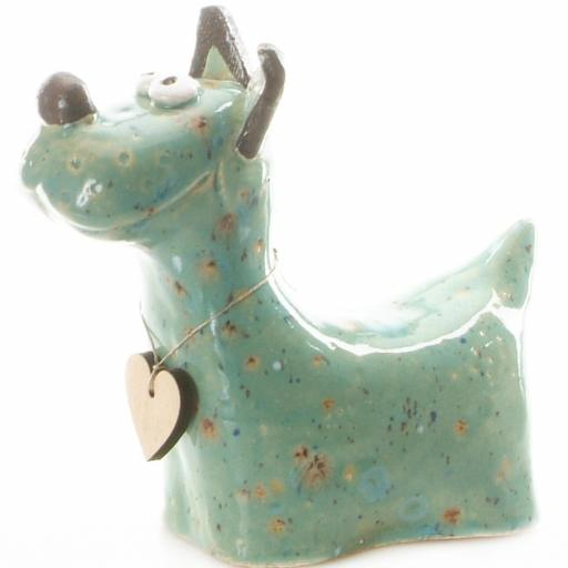 Ceramic Terrier Ornament with Messaging Wooden Heart | Turquoise