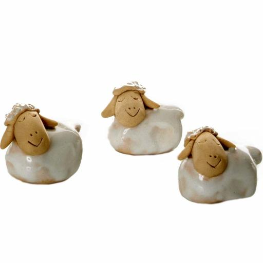Ceramic Mini Cute White Sheep Figurine | Gift Boxed