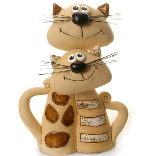 Ceramic Cat Pair | Hanging out Together