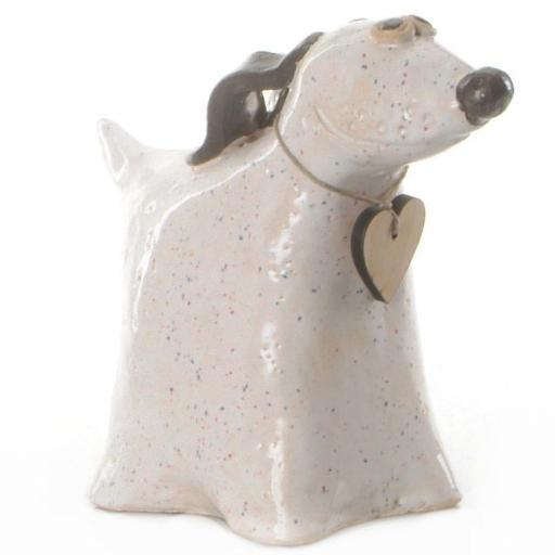 Ceramic Greyhound Dog with Wooden Messaging Heart Tag | White