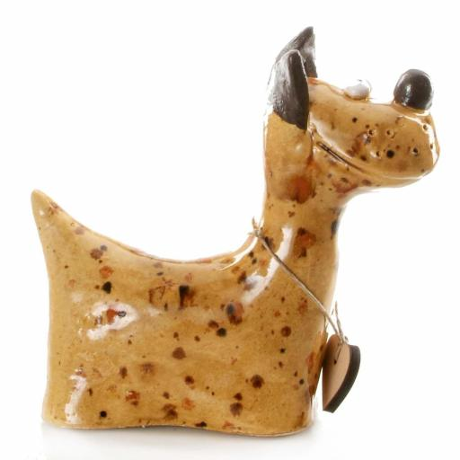 Ceramic Terrier Ornament with Messaging Wooden Heart | Mustard