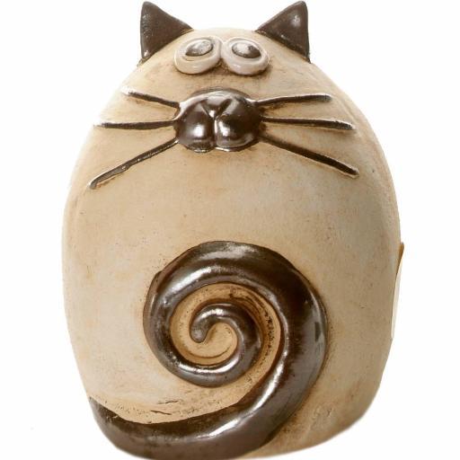 Ceramic Fat Cat Money Bank | Natural