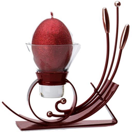 Sleek Metal Candle Holder with 1 Glass Cup | Maroon | Pegasus