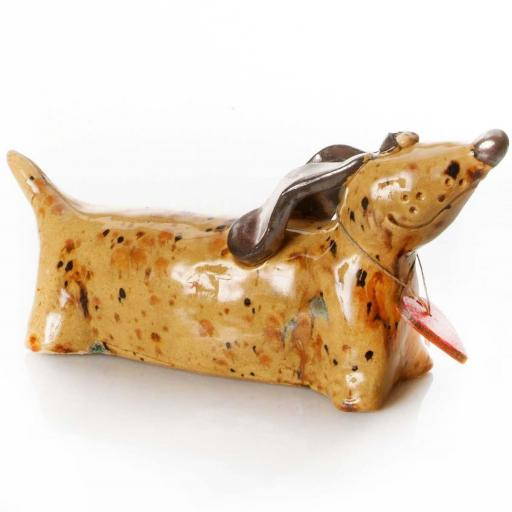 Ceramic Dachshund Ornament with Messaging Wooden Heart | Mustard