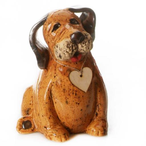 Ceramic Labrador Puppy with Wooden Heart | Walnut