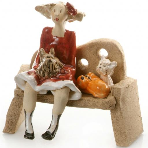 Ceramic Dog Lady Figurine in Red with White Westie, Shih Tzu, Ginger Dog