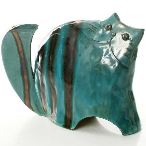 Stylish Ceramic Cat   Teal   3 Sizes   Candid Range