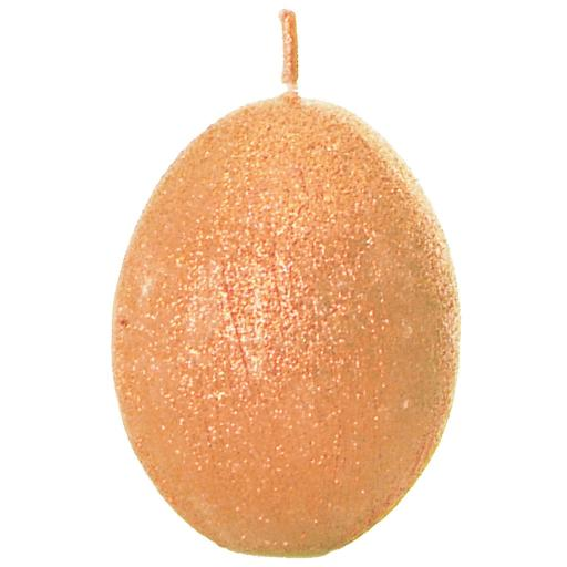Egg Shaped Candle in Sparkly Orange