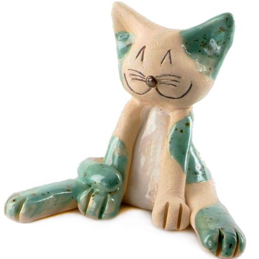Ceramic Lazy Cat Figurine | Turquoise