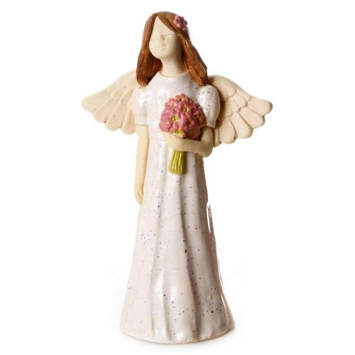 Joyful Ceramic Angel Figurine | White