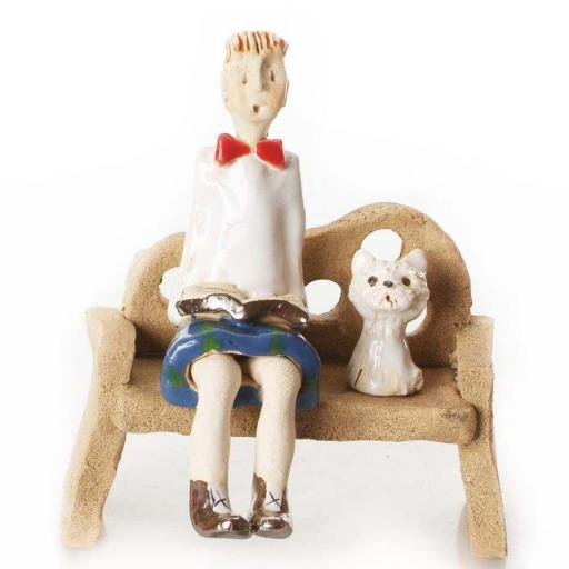 Bench with Scotsman Unusual Ceramic Ornament | White Westie