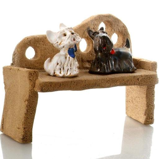 Westie and Scottie Dogs sitting on Bench |Hand Sculptured Ceramic