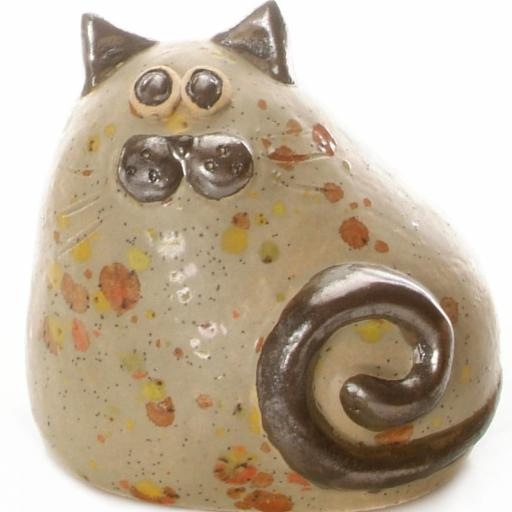 Ceramic Chubby Cat Ornament | Taupe
