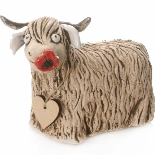 Ceramic Highland Cow Money Bank | Natural