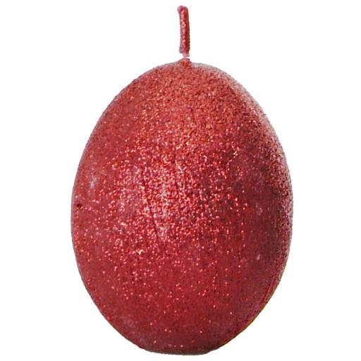 Red Egg Shaped Candle in Sparkly or Plain Finish