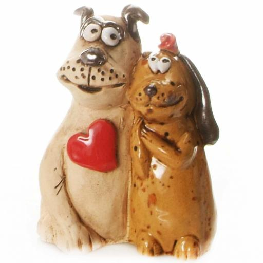 Mr & Mrs Loving Dog Couple Figurine with Red Heart