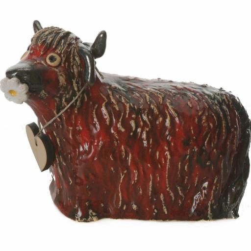 Ceramic Highland Cow Money Bank | Red