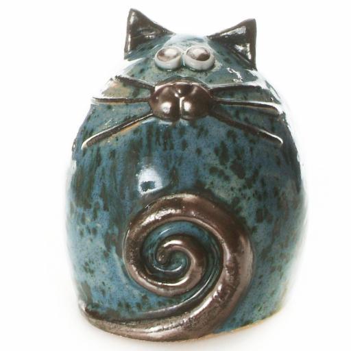 Ceramic Fat Cat Ornament | Blue