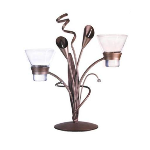 Metal Candle Holder with 2 Glass Cups | Lily | 2 Colours