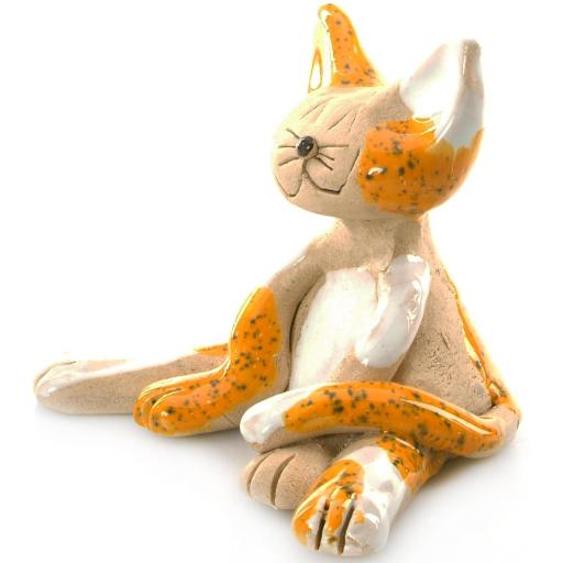 Ceramic Lazy Cat Figurine | Mustard