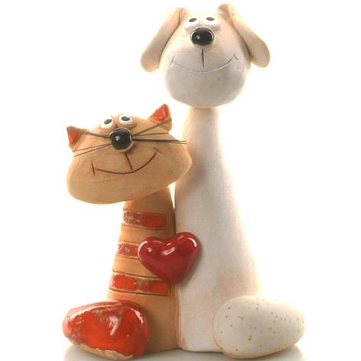 Ceramic Cat and Dog Couple with Red Heart | White Dog & Ginger Cat