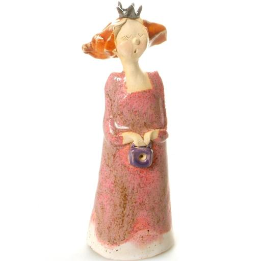 Quirky Ceramic Princess Figurine in Pink with Handbag | Handmade by Anka Christof