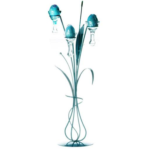 Metal Dining Table Centerpiece with 3 Glass Droplets | Daisy | Teal