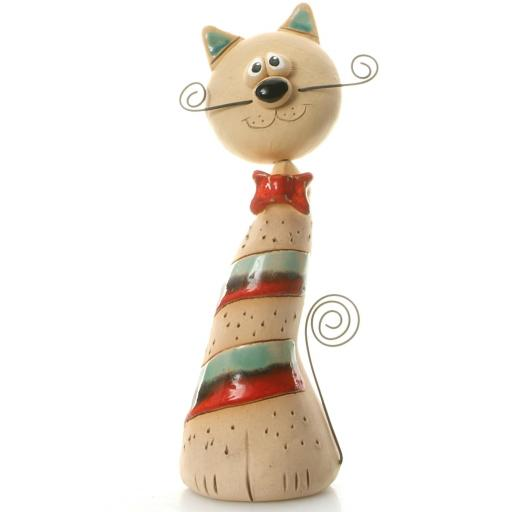 Ceramic Crazy Cat with Wire Whiskers & Tail | Teal & Red Stripes