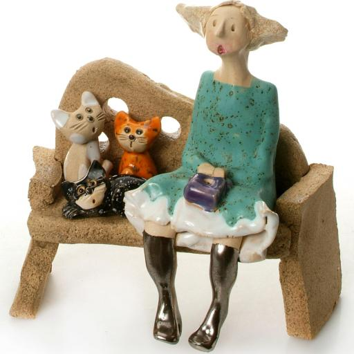 Crazy Cat Lady in Turquoise Dress with 3 Cats | Ginger Cat, Black Cat, Tabby Cat