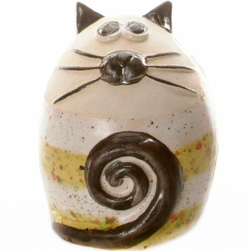 Ceramic Fat Cat Money Bank | Stripey