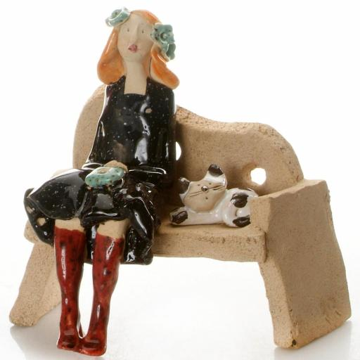 Ceramic Cat Lady Figurine in Black with White and Black Patchy Cat