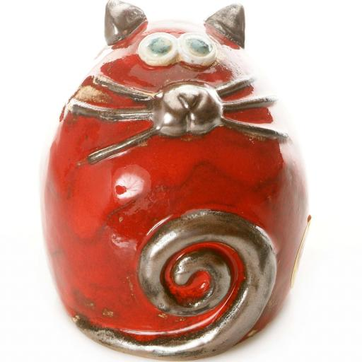 Ceramic Fat Cat Ornament | Red