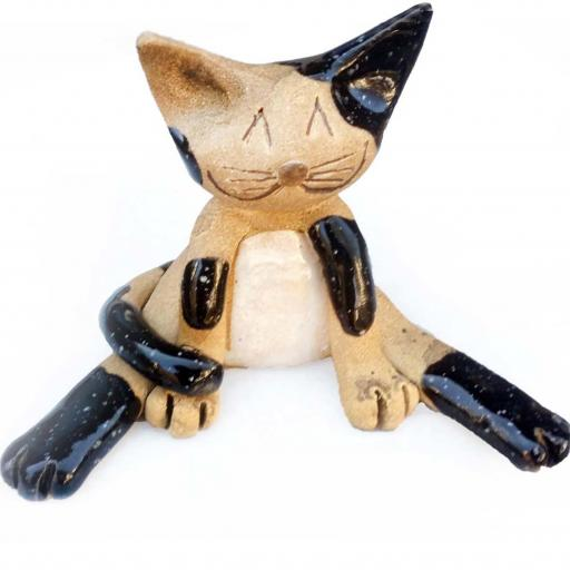 Ceramic Lazy Cat Figurine | Black