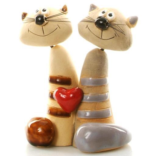 Ceramic Cat Pair | Loving Couple