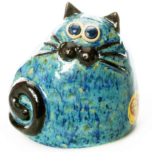 Ceramic Chubby Cat Ornament | Sky Blue