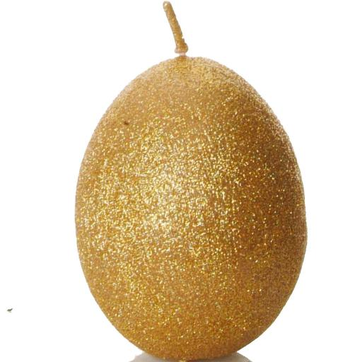Egg Shaped Candle in Sparkly Metallic Gold