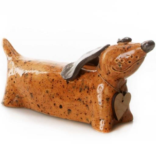 Ceramic Dachshund with Messaging Wooden Heart | Ginger