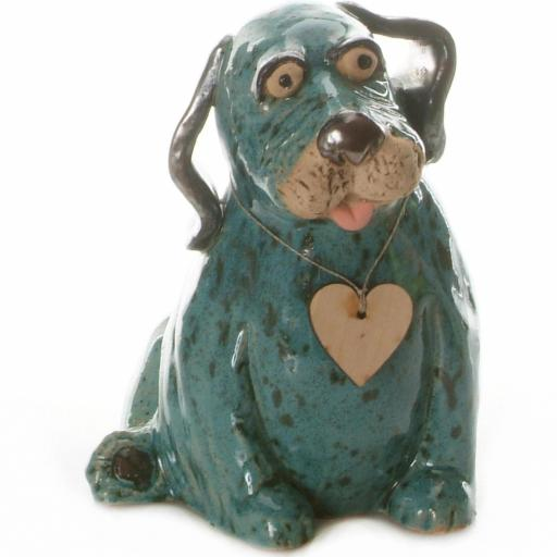 Ceramic Puppy Labrador with Wooden Messaging Heart | Teal
