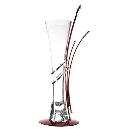 Art Deco Metal Frame Vase | Large | Gloss Maroon | Duchess