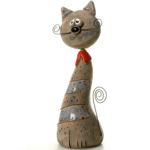 Ceramic Crazy Cat with Wire Whiskers & Tail | Grey Stripes