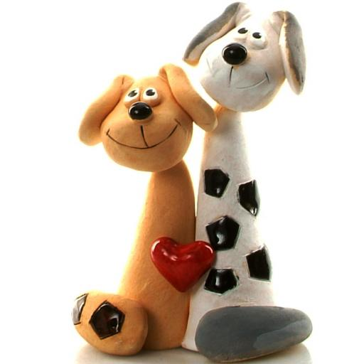 Ceramic Dog Couple with Red Heart | Brown & White with Black Patches Dog